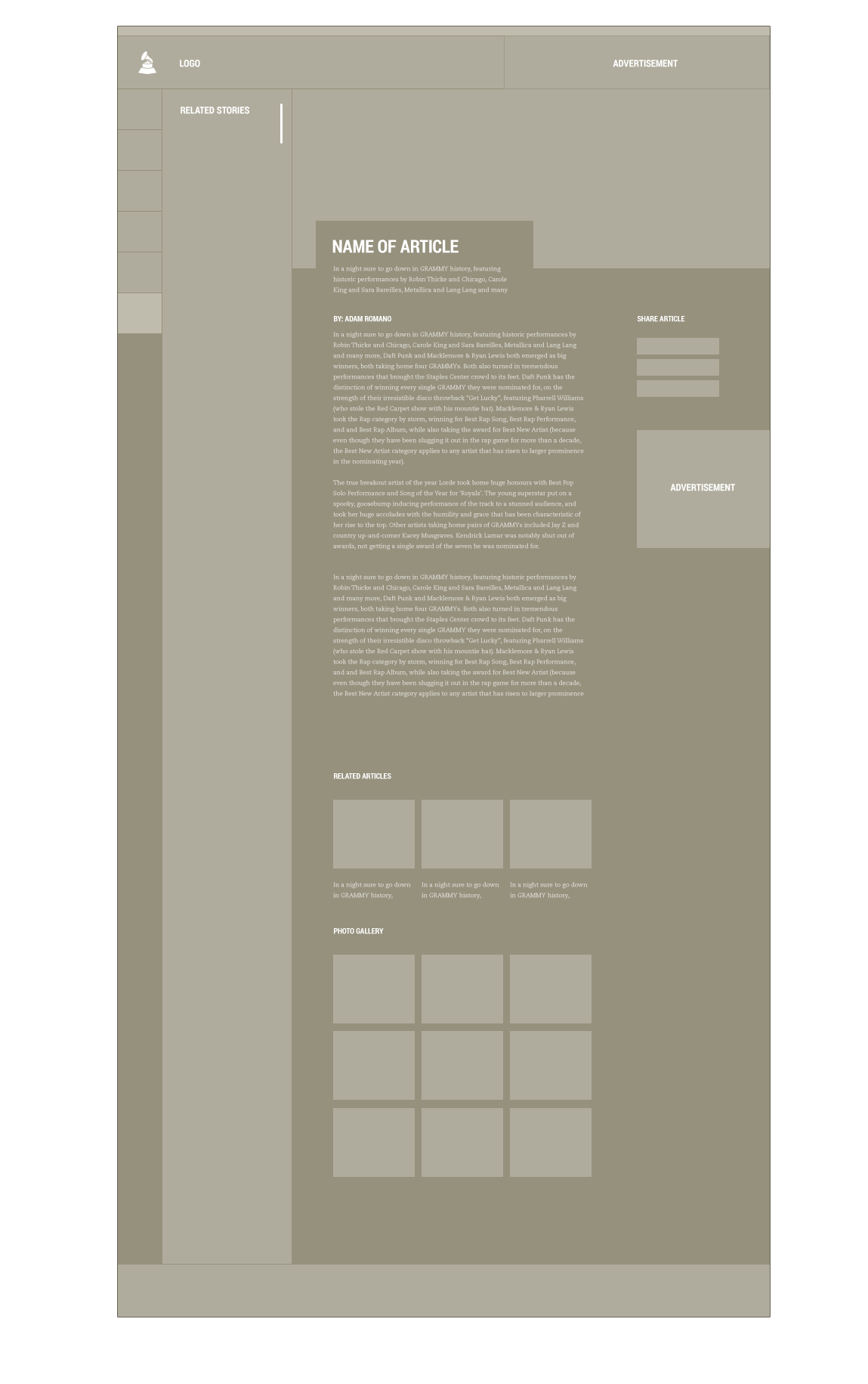 An example of the tablet wireframes that were created during the discovery phase of the Grammy's website