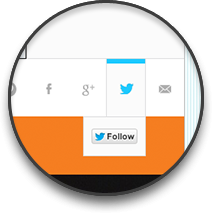 Zooming into the UI detail of our social follow module featured on the WNetwork homepage. Quick access to following them on your preferred social media network.