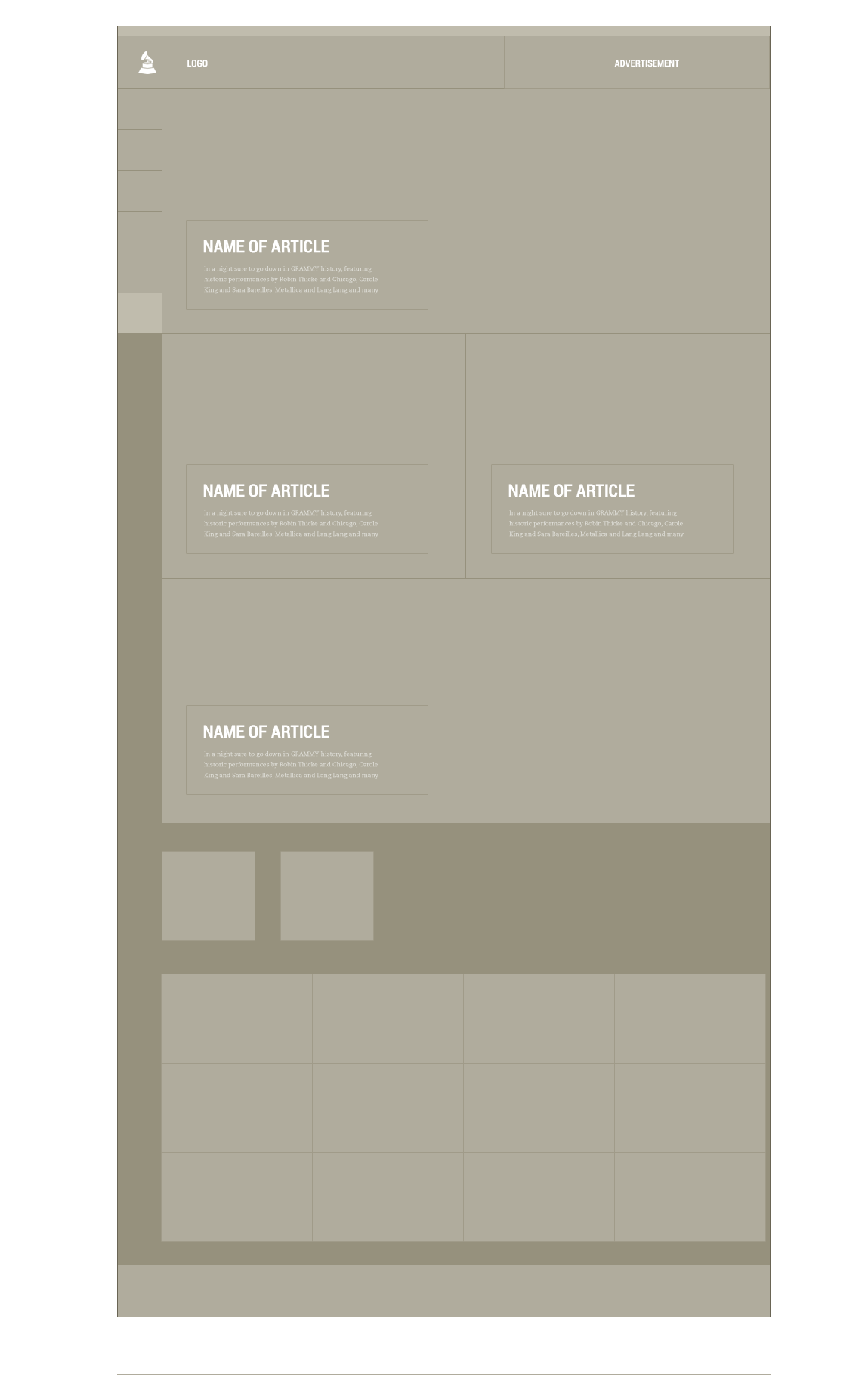 An example of the wireframing that was done while planning the layouts for the Grammy's website. This process was done in collaboration with the clients during the discovery phase.
