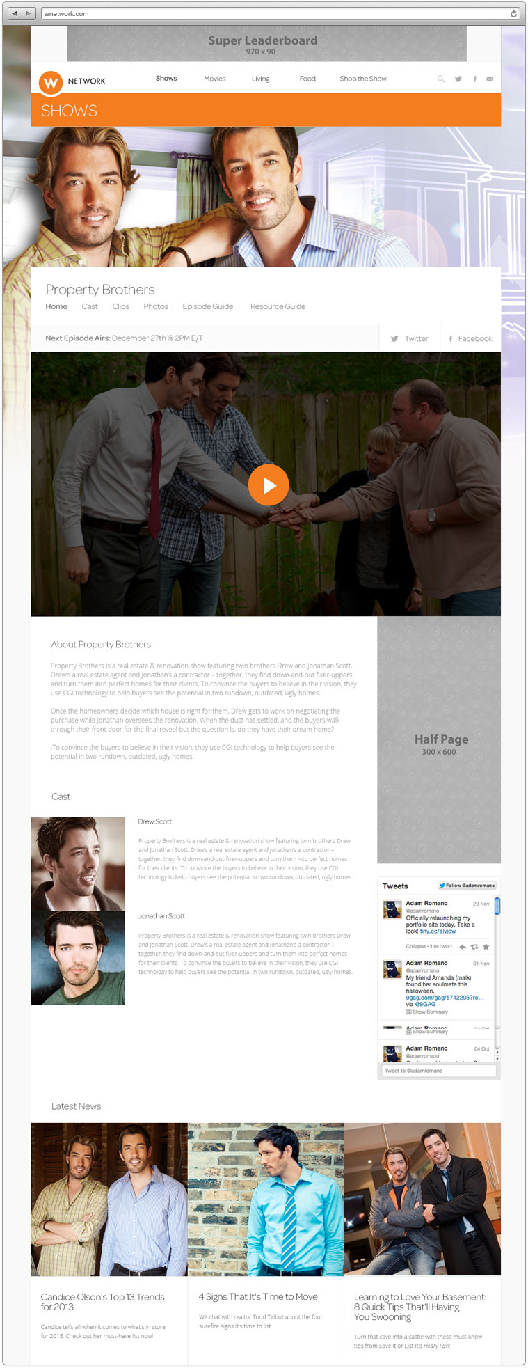 The desktop design of the Property Brothers show page. Every show has its own place to feature videos, images and information about the show, it's cast and creators.