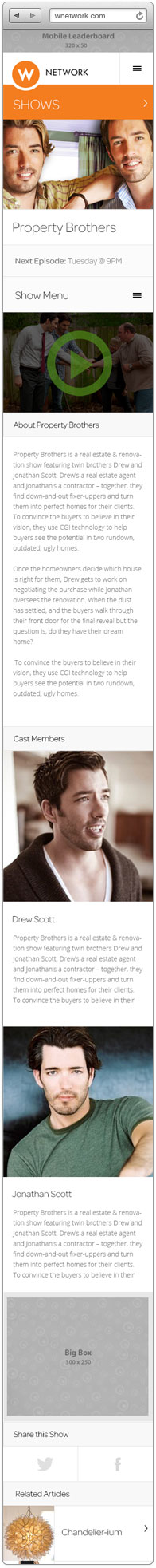 Mobile layout of the Property Brothers show page on the WNetwork website open in the browser