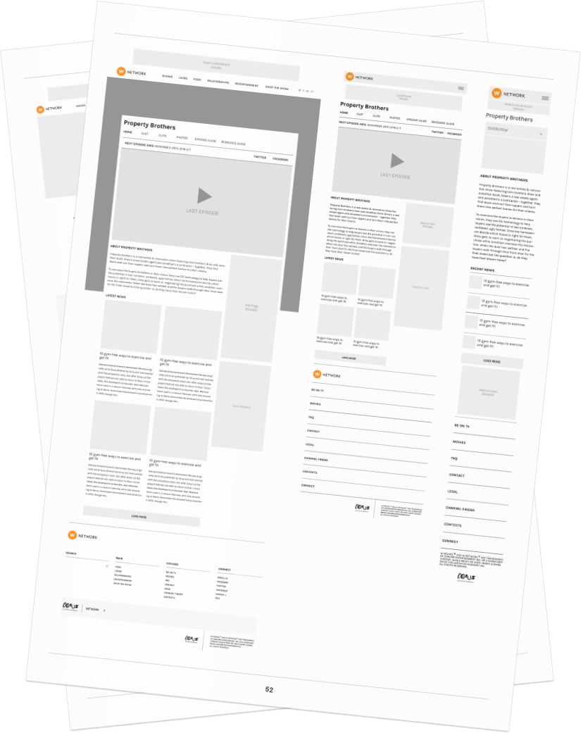 A collection of early mockups from our discovery phase of the WNetwork website project. We identified the layout and heiracy of information before getting into our design phase.
